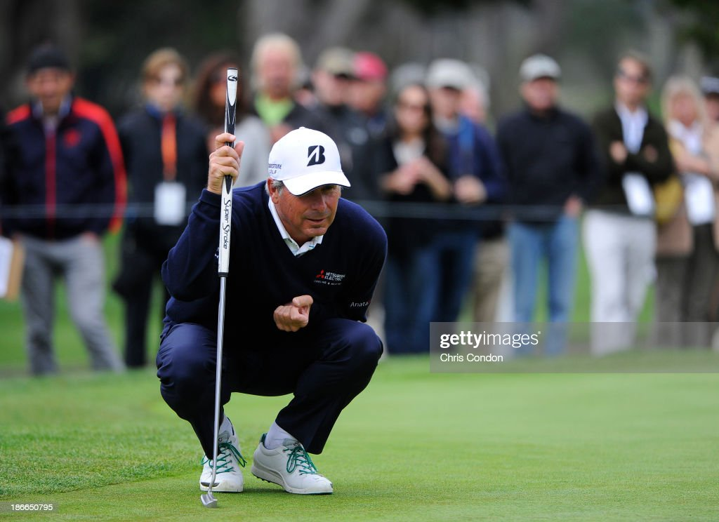 Fred Couples lines up a putt on the 5th green during the third round of the Charles Schwab Cup Championship at TPC Harding Park on November 2, 2013 in San Francisco, California.