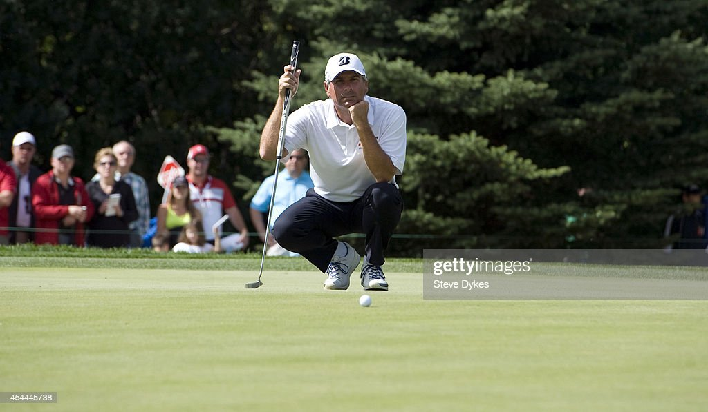 <a gi-track='captionPersonalityLinkClicked' href=/galleries/search?phrase=Fred+Couples&family=editorial&specificpeople=203076 ng-click='$event.stopPropagation()'>Fred Couples</a> lines up his birdie putt attempt on the seventh hole of regulation during the final round of the Shaw Charity Classic at the Canyon Meadows Golf & Country Club on August 31, 2014 in Calgary, Canada. Couples won the tournament in a playoff with Billy Andrade.