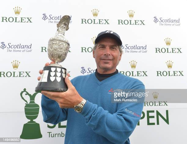 Fred Couples of the United States gets his hands on Senior Open Claret Jug after winning the Senior Open Championship played over the Ailsa course at...