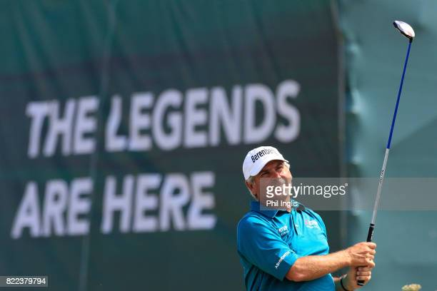 Fred Couples of the United States in action during the ProAm ahead of The Senior Tour Open Championship played at Royal Porthcawl Golf Club on July...