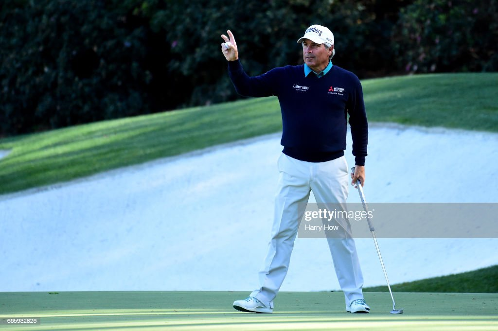 Fred Couples of the United States reacts to a putt for birdie on the 13th hole during the second round of the 2017 Masters Tournament at Augusta National Golf Club on April 7, 2017 in Augusta, Georgia.