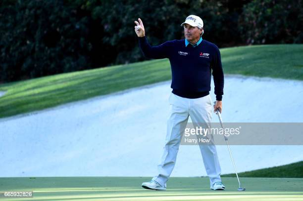 Fred Couples of the United States reacts to a putt for birdie on the 13th hole during the second round of the 2017 Masters Tournament at Augusta...
