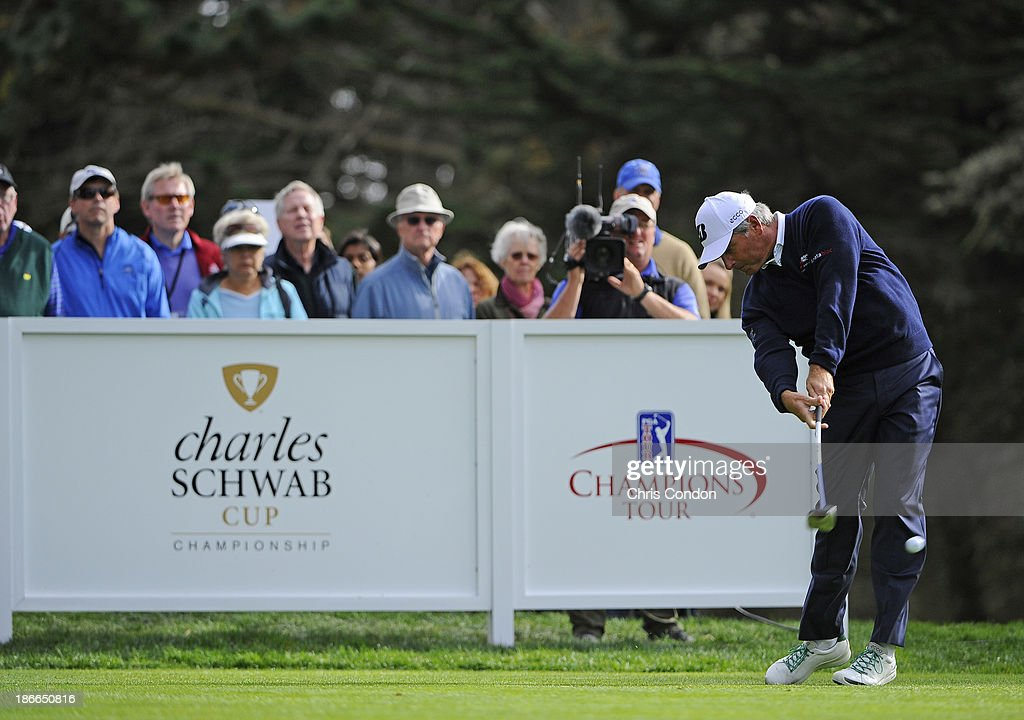 Fred Couples plays from the 15th tee during the third round of the Charles Schwab Cup Championship at TPC Harding Park on November 2, 2013 in San Francisco, California.