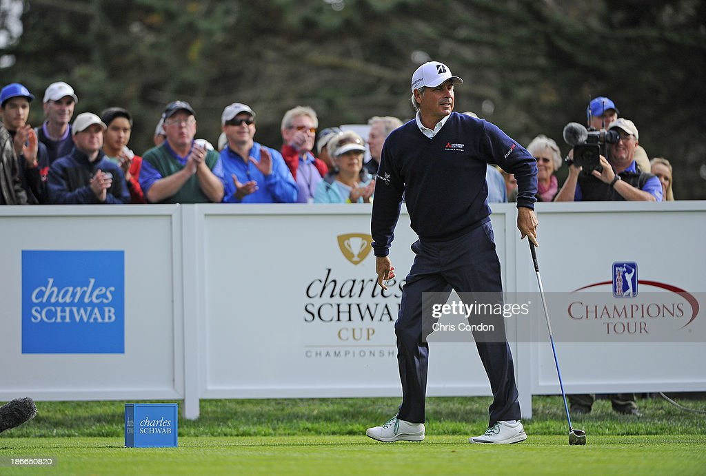 <a gi-track='captionPersonalityLinkClicked' href=/galleries/search?phrase=Fred+Couples&family=editorial&specificpeople=203076 ng-click='$event.stopPropagation()'>Fred Couples</a> plays from the 15th tee during the third round of the Charles Schwab Cup Championship at TPC Harding Park on November 2, 2013 in San Francisco, California.