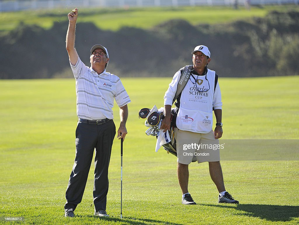 <a gi-track='captionPersonalityLinkClicked' href=/galleries/search?phrase=Fred+Couples&family=editorial&specificpeople=203076 ng-click='$event.stopPropagation()'>Fred Couples</a> plays from the 18th fairway during the second round of the Charles Schwab Cup Championship at TPC Harding Park on November 1, 2013 in San Francisco, California.