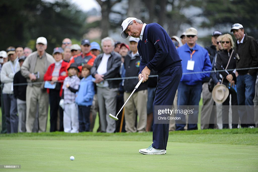 Fred Couples putts for birdie on the 3rd green during the third round of the Charles Schwab Cup Championship at TPC Harding Park on November 2, 2013 in San Francisco, California.