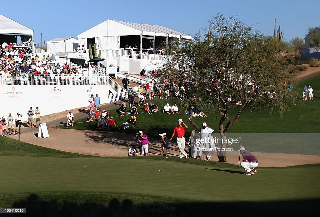 <a gi-track='captionPersonalityLinkClicked' href=/galleries/search?phrase=Fred+Couples&family=editorial&specificpeople=203076 ng-click='$event.stopPropagation()'>Fred Couples</a> putts on the 18th hole green during the third round of the Charles Schwab Cup Championship on the Cochise Course at The Desert Mountain Club on November 3, 2012 in Scottsdale, Arizona.