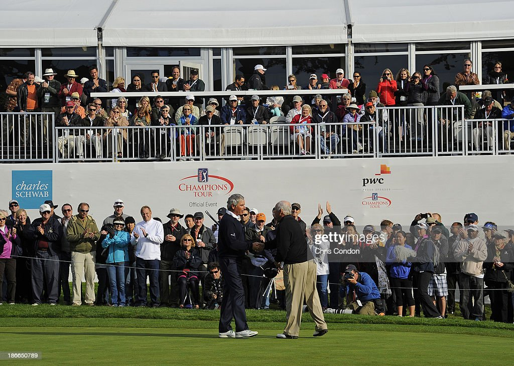 Fred Couples shakes hands with Peter Senior of Australia on the 18th green during the third round of the Charles Schwab Cup Championship at TPC Harding Park on November 2, 2013 in San Francisco, California.