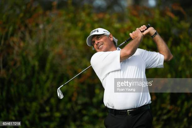 Fred Couples tees off on the 16th hole during the first round of the PGA TOUR Champions Allianz Championship at The Old Course at Broken Sound on...