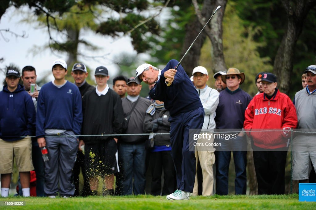 Fred Couples tees off on the 3rd hole during the third round of the Charles Schwab Cup Championship at TPC Harding Park on November 2, 2013 in San Francisco, California.