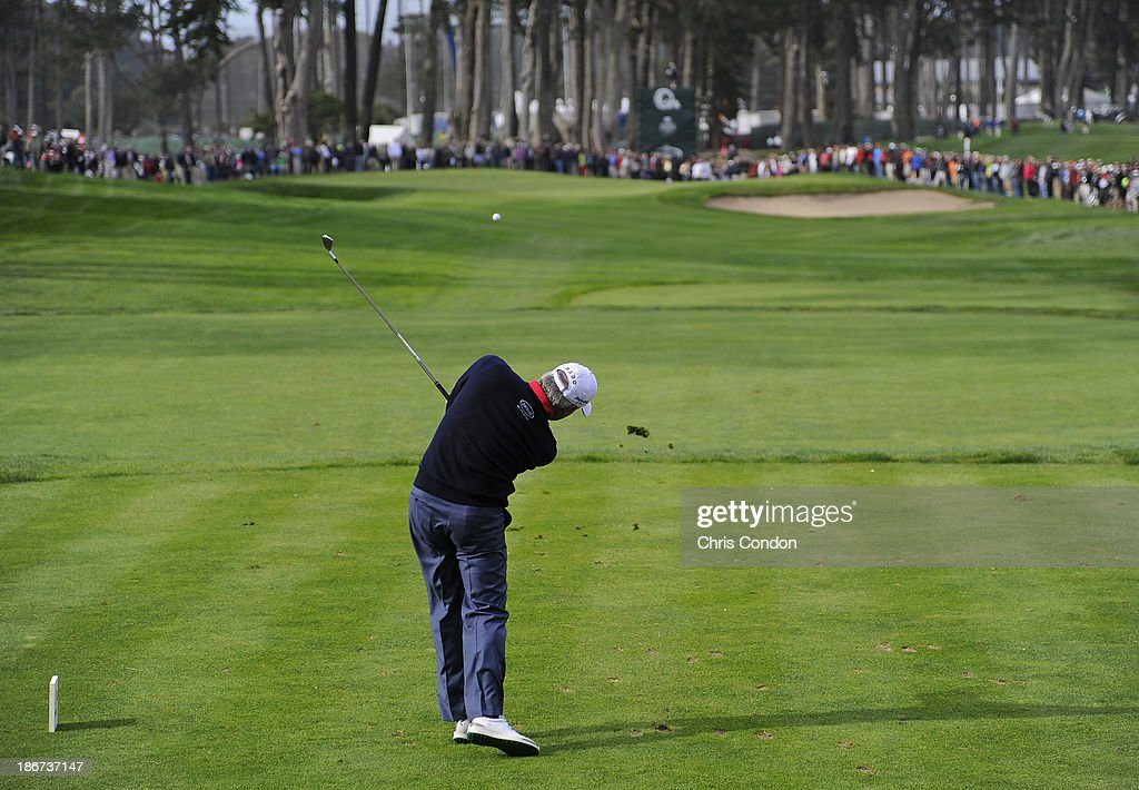 <a gi-track='captionPersonalityLinkClicked' href=/galleries/search?phrase=Fred+Couples&family=editorial&specificpeople=203076 ng-click='$event.stopPropagation()'>Fred Couples</a> tees off on the 8th hole during the final round of the Charles Schwab Cup Championship at TPC Harding Park on November 3, 2013 in San Francisco, California.