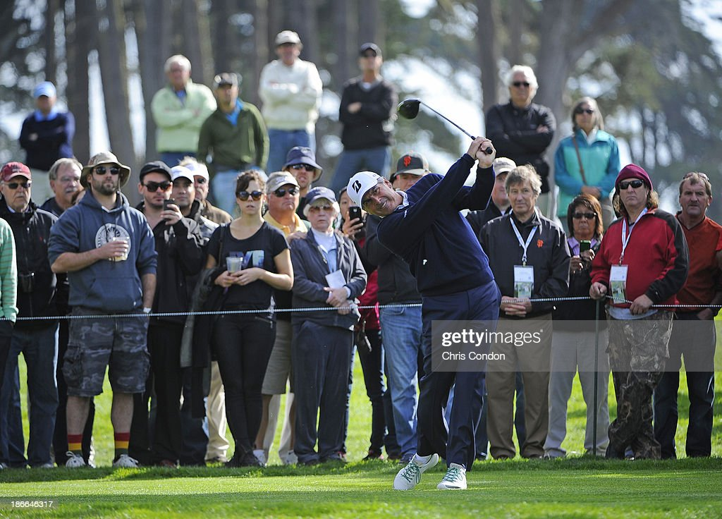 Fred Couples tees off on the 9th hole during the third round of the Charles Schwab Cup Championship at TPC Harding Park on November 2, 2013 in San Francisco, California.