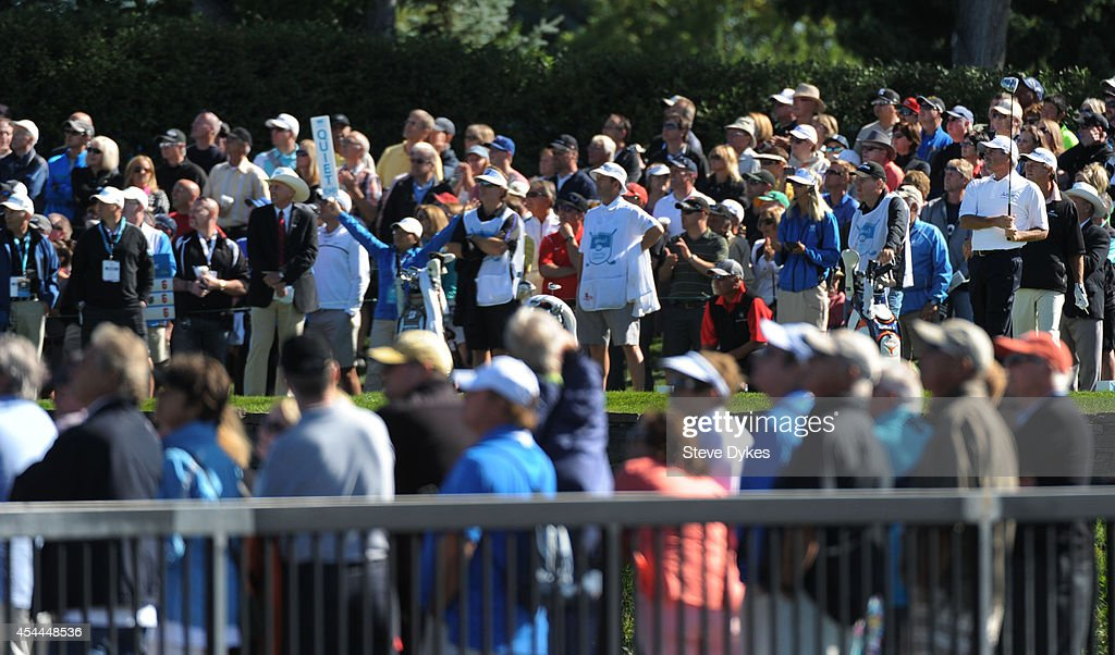 Fred Couples tees off on the first hole during the final round of the Shaw Charity Classic at the Canyon Meadows Golf & Country Club on August 31, 2014 in Calgary, Canada.