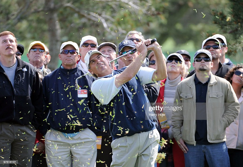 Fred Couples watches his shot from the rough on the seventh hole during the third round of the Toshiba Classic at the Newport Beach Country Club on March 7, 2010 in Newport Beach, California.