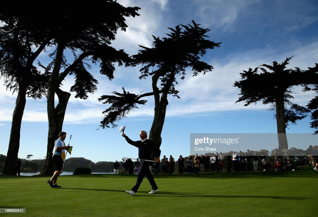 Fred Couples waves to the crowd after finishing Round Three of the Charles Schwab Cup Championship at TPC Harding Park on November 2, 2013 in San Francisco, California.