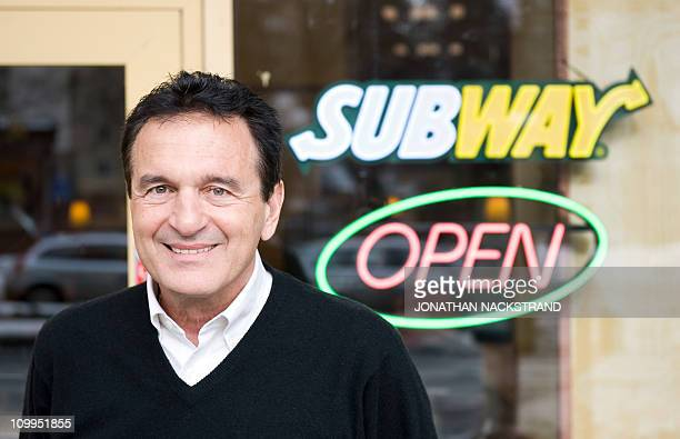 Fred DeLuca President and founder of sandwich maker Subway poses during an interview in front of a Subway restaurant at 'Solna Centrum' in Stockholm...