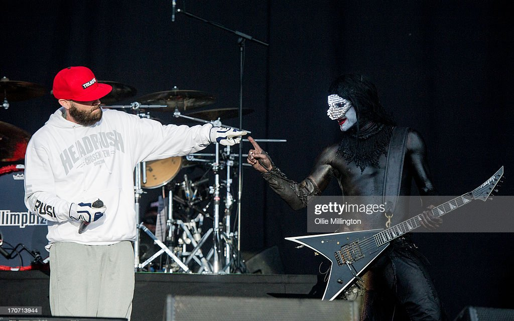 Fred Durst and Wes Borland of Limp Bizkit perform a headline show at Day 3 of The Download Festival at Donnington Park on June 16, 2013 in Donnington, England.