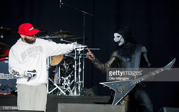Fred Durst and Wes Borland of Limp Bizkit perform a headline show at Day 3 of The Download Festival at Donnington Park on June 16 2013 in Donnington...