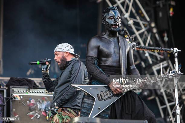 Fred Durst and Wes Borland of Limp Bizkit perform on stage at Sonisphere at Knebworth Park on July 4 2014 in Knebworth United Kingdom
