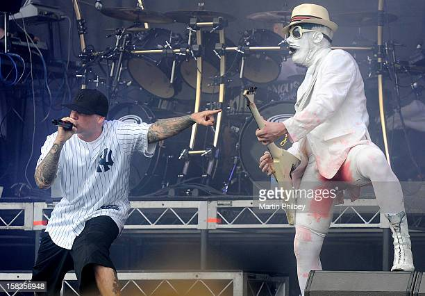 Fred Durst and Wes Borland of Limp Bizkit perform on stage at the Soundwave Music Festival at Sydney Olympic Park on 26th February 2012 in Sydney...