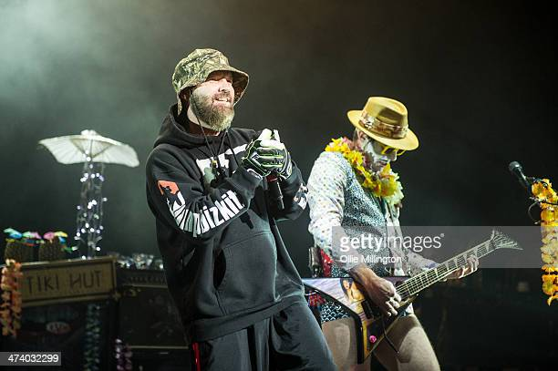 Fred Durst and Wes Borland of Limp Bizkit perform on stage during the last date of the Kerrang Tour at Brixton Academy on February 21 2014 in London...