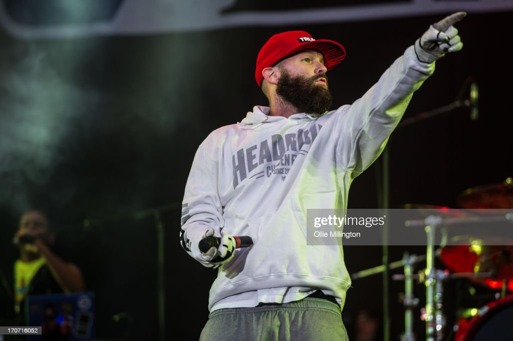 Fred Durst of Limp Bizkit performs a headline set at the end of Day 3 of The Download Festival at Donnington Park on June 16, 2013 in Donnington, England.