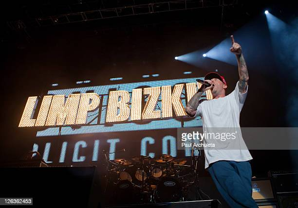 Fred Durst of Limp Bizkit performs live at EPICENTER Southern California's Rock Festival at Verizon Wireless Amphitheater on September 24 2011 in...
