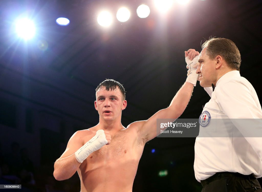 Fred Evans of British Lionhearts celebrates his victory over Miras Bairkhanov of Astana Arlans Kazakhstan during their 91KG+ bout during the World Series of Boxing between British Lionhearts and Astana Arlans Kazakhstan on February 7, 2013 in London, England.
