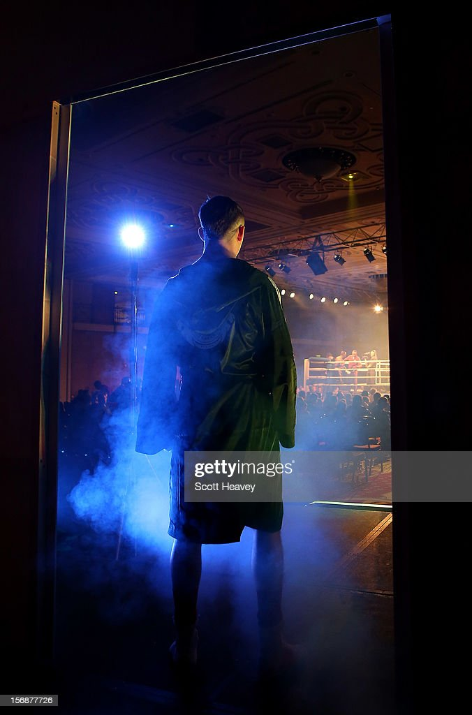 Fred Evans of British Lionhearts enters the ring prior to his 68-73kg bout with Michel Tavares of Italia Thunder in the World Series of Boxing between British Lionhearts and Italia Thunder on November 23, 2012 in Newport, Wales.