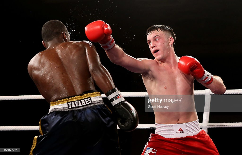 Fred Evans of British Lionhearts (R) in action with Michel Tavares of Italia Thunder during their 68-73kg bout in the World Series of Boxing between British Lionhearts and Italia Thunder on November 23, 2012 in Newport, Wales.