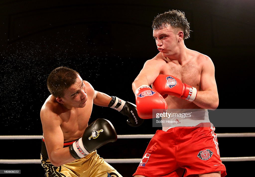 Fred Evans of British Lionhearts (R) in action with Miras Bairkhanov of Astana Arlans Kazakhstan during their 91KG+ bout during the World Series of Boxing between British Lionhearts and Astana Arlans Kazakhstan on February 7, 2013 in London, England.