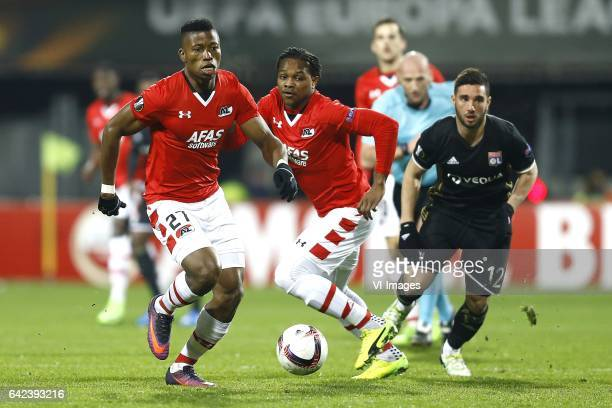 Fred Friday of AZ Alkmaar Levi Garcia of AZ Alkmaar Jordan Ferri of Olympique Lyonduring the UEFA Europa League round of 32 match between AZ Alkmaar...