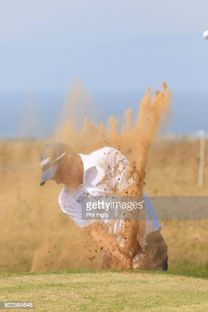 Fred Funk of the United States in action during the ProAm ahead of The Senior Tour Open Championship played at Royal Porthcawl Golf Club on July 25...