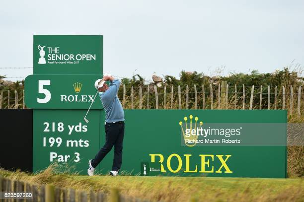 Fred Funk of the United States tees off on the 5th hole during the first round of the the Senior Open Championship presented by Rolex at Royal...