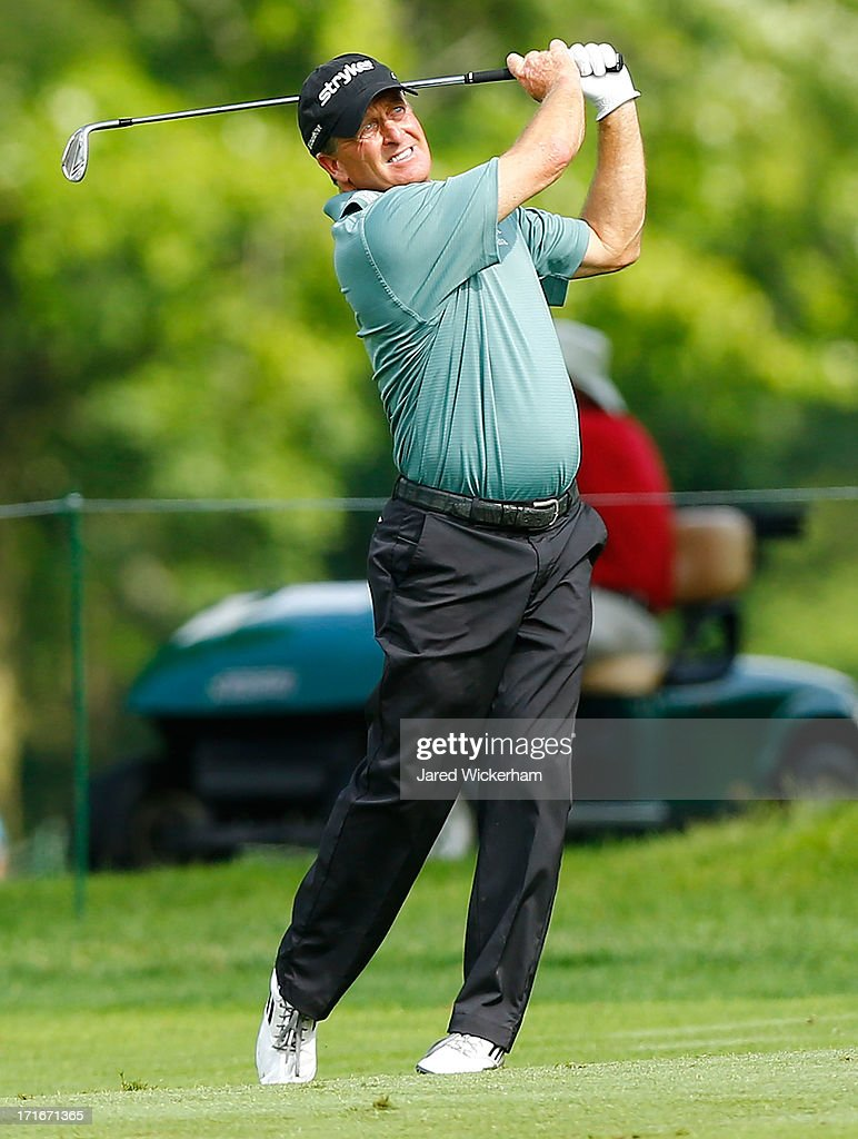 <a gi-track='captionPersonalityLinkClicked' href=/galleries/search?phrase=Fred+Funk&family=editorial&specificpeople=206374 ng-click='$event.stopPropagation()'>Fred Funk</a> takes his second shot from the fairway during the first round of the 2013 Constellation Senior Players Championship at Fox Chapel Golf Club on June 27, 2012 in Fox Chapel, Pennsylvania.