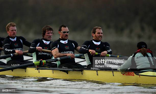Fred Gill Deaglan McEachem Hardy Cubasch and Rob Weitemeyer in action during the Cambridge University Boat Club trial eights race on the River Thames...
