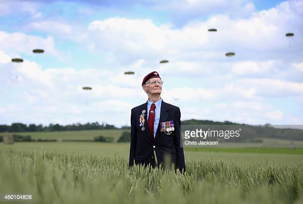 Fred Glover aged 88 a veteran of the 9th Para Battalian watches a parachute jump just outside Rainville during DDay 70 Commemorations on June 5 2014...