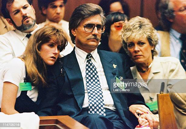 Fred Goldman father of Ronald Goldman his daughter Kim and wife Patty listen to testimony during a preliminary hearing following the murders of...