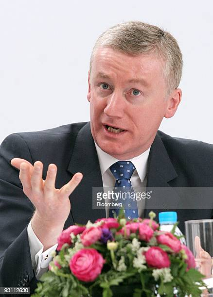 Fred Goodwin chief executive officer of the Royal Bank of Scotland Group speaks during a joint news conference with Li Lihui vice chairman and...