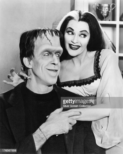 Fred Gwynne as Herman Munster and Yvonne De Carlo as Lily Munster in a publicity still for the comedyhorror TV series 'The Munsters' circa 1965