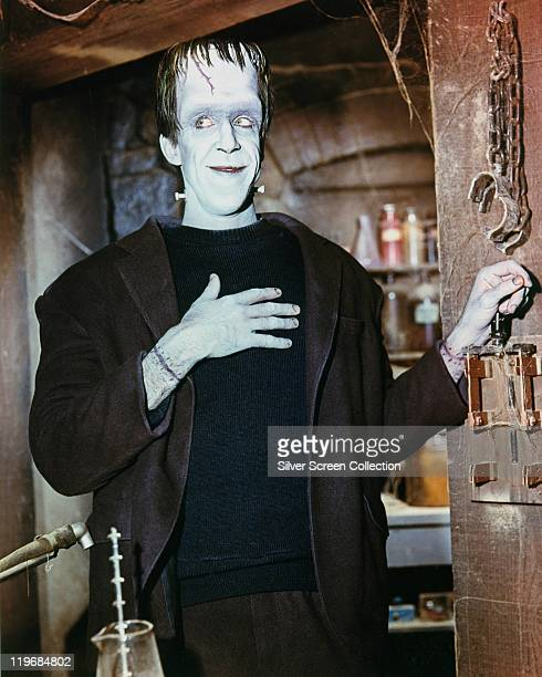 Fred Gwynne US actor in costume in a publicity portrait issued for the US television series 'The Munsters' USA circa 1965 The sitcom starred Gwynne...