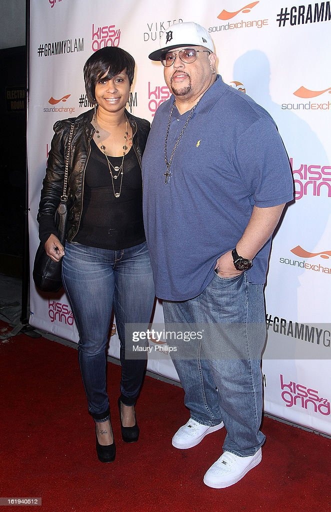 Fred Hammond (R) and Lydia Harris attend The 6th Annual Kiss-N-Grind GRAMMY Edition hosted by Common with Vikter Duplaix and music producer The Twilite Tone at Arena Nightclub on February 8, 2013 in Hollywood, California.