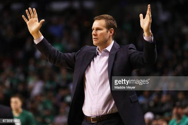 Fred Hoiberg Head Coach of the Chicago Bulls reacts during the third quarter of Game Five of the Eastern Conference Quarterfinals against the Boston...