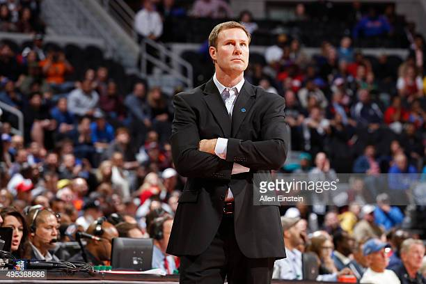 Fred Hoiberg of the Chicago Bulls coaches against the Detroit Pistons on October 30 2015 at The Palace of Auburn Hills in Auburn Hills Michigan NOTE...