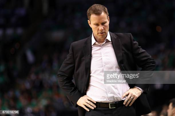 Fred Hoiberg of the Chicago Bulls looks on during the third quarter of Game Two of the Eastern Conference Quarterfinals against the Boston Celtics at...