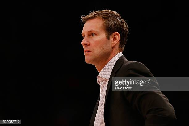Fred Hoiberg of the Chicago Bulls looks on from the bench against the New York Knicks at Madison Square Garden on December 19 2015 in New York City...