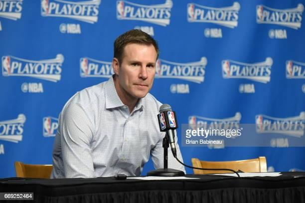 Fred Hoiberg of the Chicago Bulls speaks to the media after the game against the Boston Celtics during the Eastern Conference Quarterfinals of the...