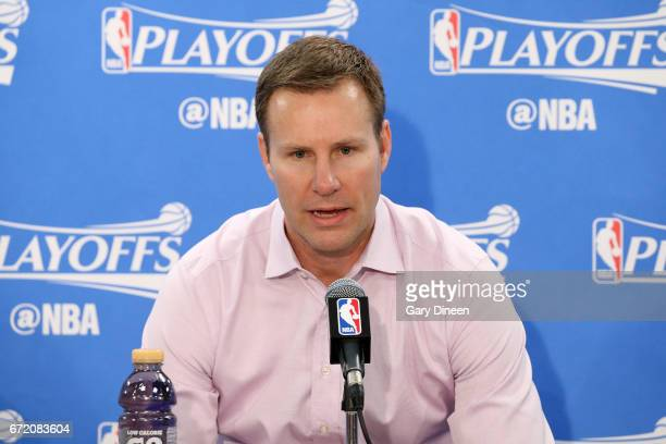 Fred Hoiberg of the Chicago Bulls talks with the press after the game against the Boston Celtics in Game Four during the Eastern Quarterfinals of the...