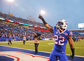 Fred Jackson of the Buffalo Bills celebrates after beating the Green Bay Packers at Ralph Wilson Stadium on December 14 2014 in Orchard Park New York