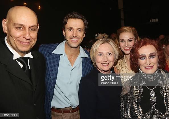 Fred Johanson as 'Max' Michael Xavier as 'Joe Gillis' Hillary Clinton Siobhan Dillon as 'Betty Schaefer' and Glenn Close as 'Norma Desmond' pose...